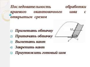 Последовательность обработки краевого окантовочного шва с открытым срезом При