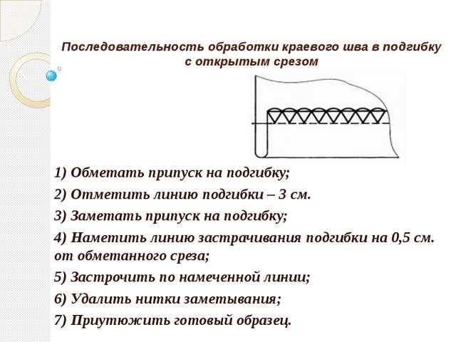 Последовательность обработки краевого шва в подгибку с открытым срезом 1) Обм...