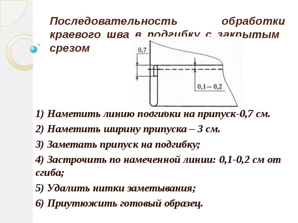 Последовательность обработки краевого шва в подгибку с закрытым срезом 1) Нам...
