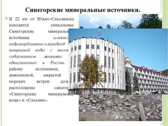 Синегорские минеральные источники. В 22 км от Южно-Сахалинска находятся уника...