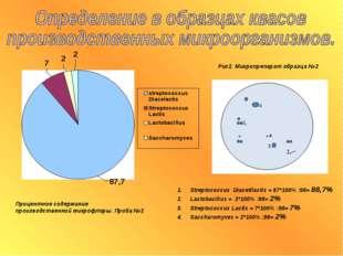 Процентное содержание производственной микрофлоры. Проба №2 Рис2. Микропрепар