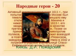 Народные герои - 20 Активный участник I ополчения 1611 г., при попытке поднят