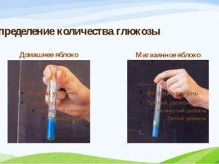 Определение количества глюкозы Домашнее яблоко Магазинное яблоко