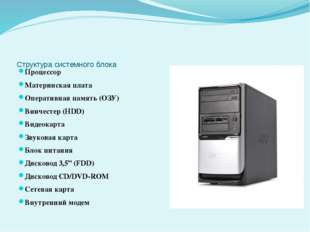 Структура системного блока Процессор Материнская плата Оперативная память (ОЗ