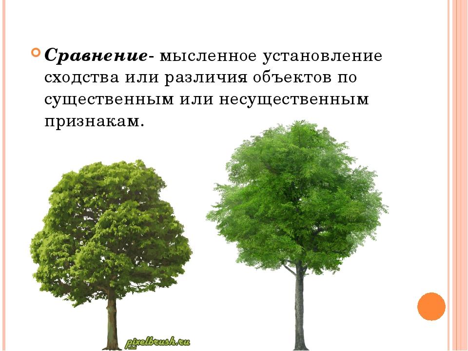 Сравнение- мысленное установление сходства или различия объектов по существен...