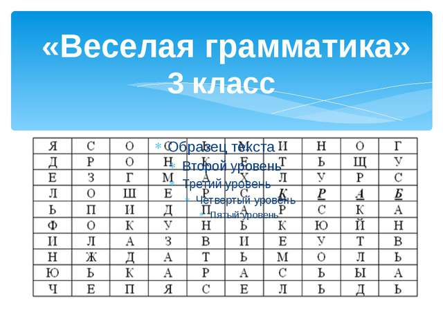 «Веселая грамматика» 3 класс