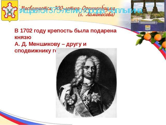 Посвящается 375-летию города Чаплыгина В 1702 году крепость была подарена кн...