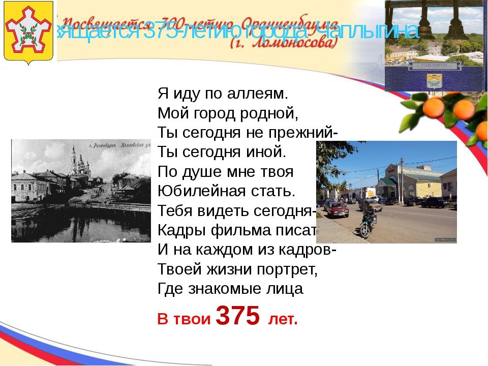Посвящается 375-летию города Чаплыгина Я иду по аллеям. Мой город родной, Ты...