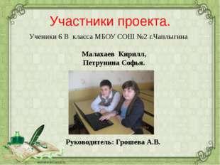 Участники проекта. Малахаев Кирилл, Петрунина Софья. Руководитель: Грошева А.