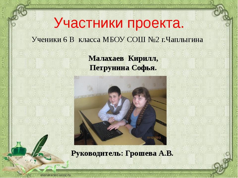 Участники проекта. Малахаев Кирилл, Петрунина Софья. Руководитель: Грошева А....