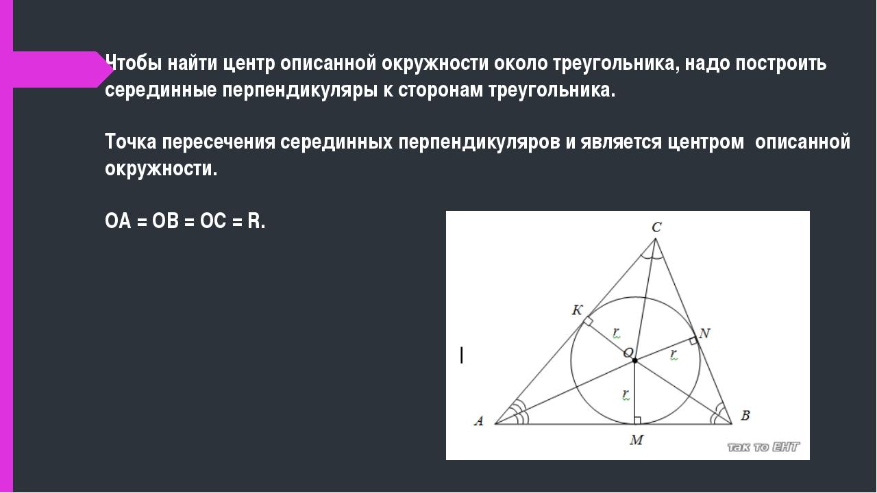 Чтобы найти центр описанной окружности около треугольника, надо построить се...