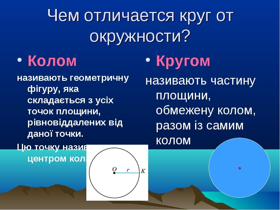 Чем отличается круг от окружности? Колом називають геометричну фігуру, яка ск...