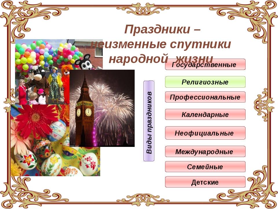 Государственные Религиозные Профессиональные Календарные Неофициальные Между...