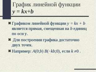 График линейной функции y = kx+b Графиком линейной функции y = kx + b являетс