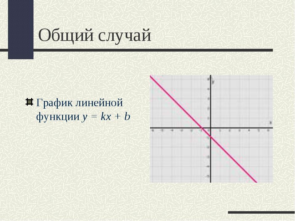 Общий случай График линейной функции y = kx + b