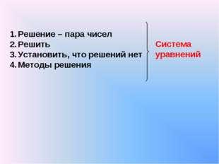 Решение – пара чисел Решить Установить, что решений нет Методы решения Систем