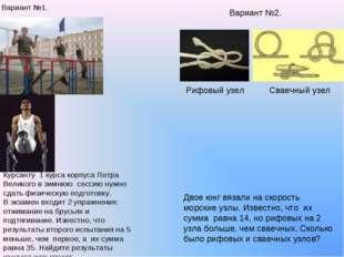 * Вариант №1. Курсанту 1 курса корпуса Петра Великого в зимнюю сессию нужно с