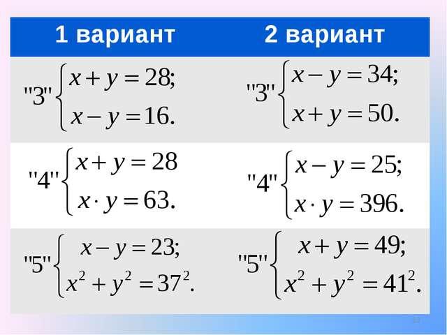 * 1 вариант2 вариант