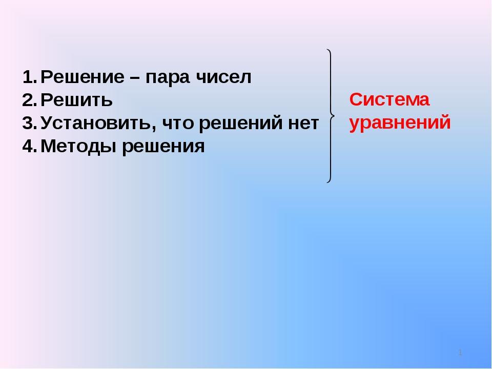 Решение – пара чисел Решить Установить, что решений нет Методы решения Систем...