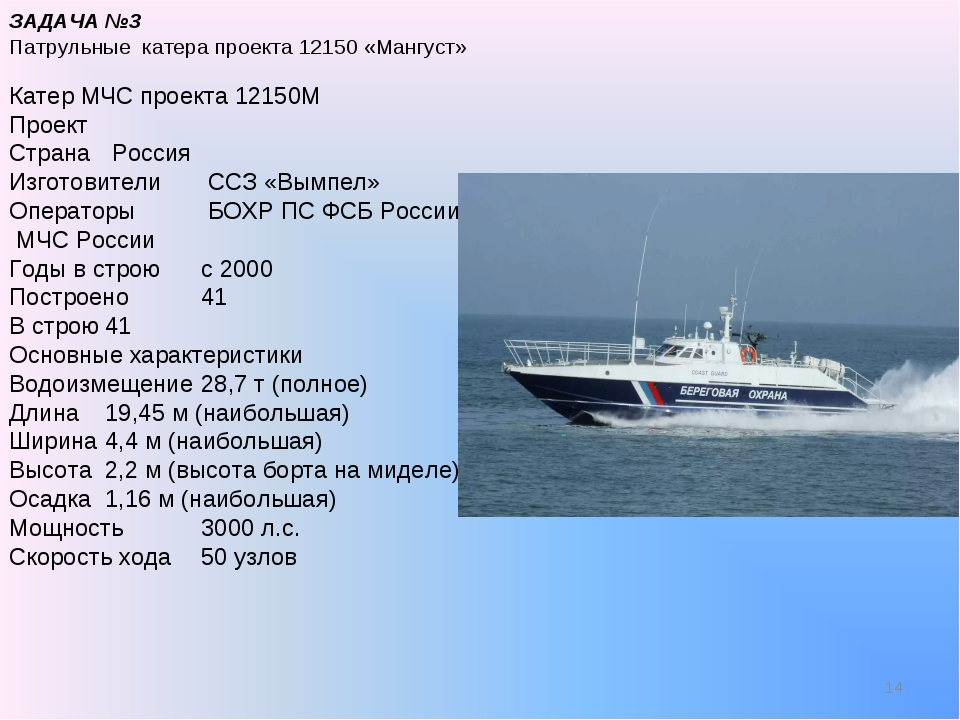 * ЗАДАЧА №3 Патрульные катера проекта 12150 «Мангуст» Катер МЧС проекта 12150...