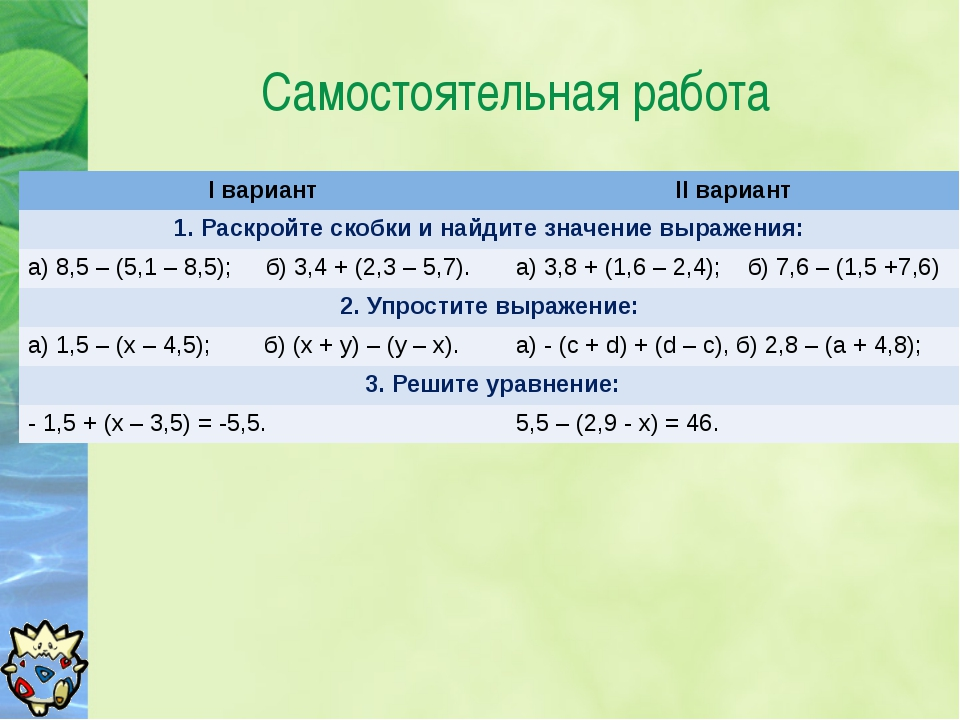 Самостоятельная работа Iвариант IIвариант 1.Раскройте скобки и найдите значен...