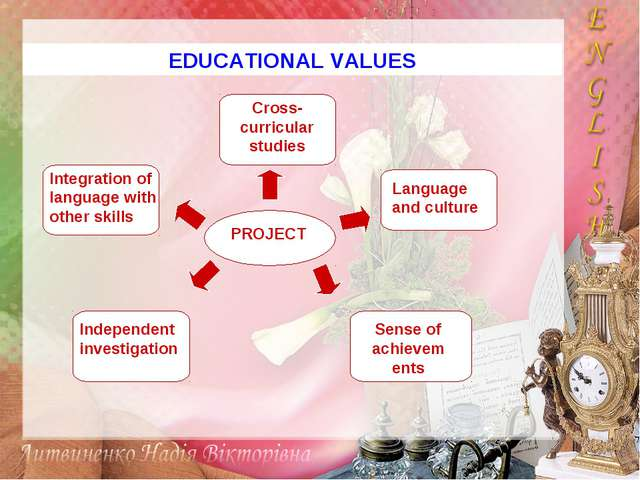 EDUCATIONAL VALUES Integration of language with other skills Independent inve...