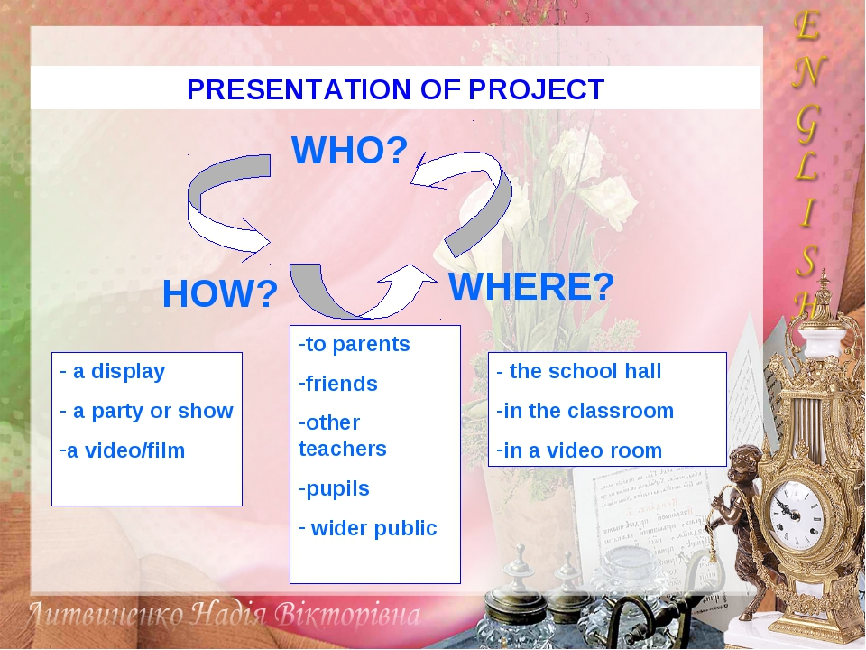 PRESENTATION OF PROJECT WHO? HOW? WHERE? a display a party or show a video/fi...