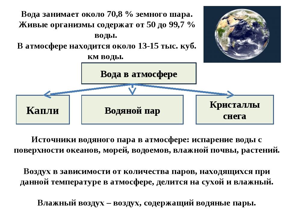Вода занимает около 70,8 % земного шара. Живые организмы содержат от 50 до 9...
