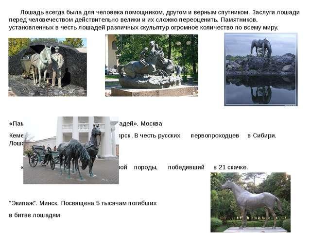 Лошадь всегда была для человека помощником, другом и верным спутником. Заслу...