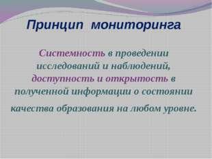 Принцип мониторинга Системность в проведении исследований и наблюдений, досту