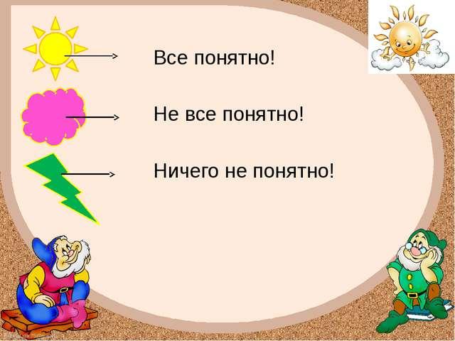 Все понятно! Не все понятно! Ничего не понятно! FokinaLida.75@mail.ru