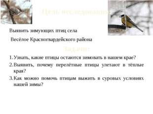 Цель исследования: Выявить зимующих птиц села Весёлое Красногвардейского райо