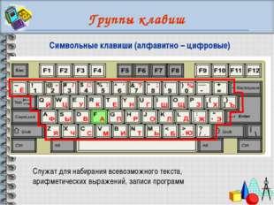 Группы клавиш Служат для набирания всевозможного текста, арифметических выраж