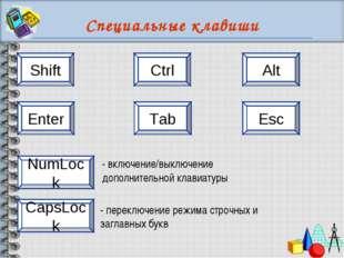 Специальные клавиши Shift Ctrl Alt Esc Enter Tab CapsLock NumLock - переключе