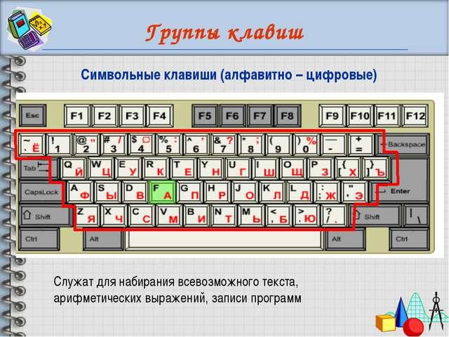 Группы клавиш Служат для набирания всевозможного текста, арифметических выраж...