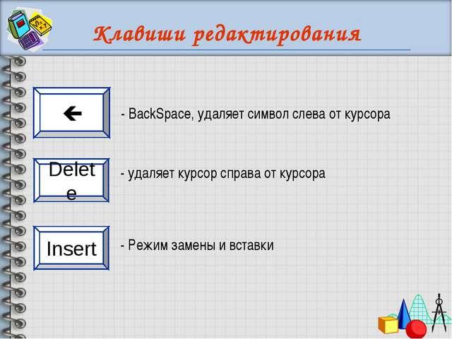 Клавиши редактирования - удаляет курсор справа от курсора - Режим замены и вс...