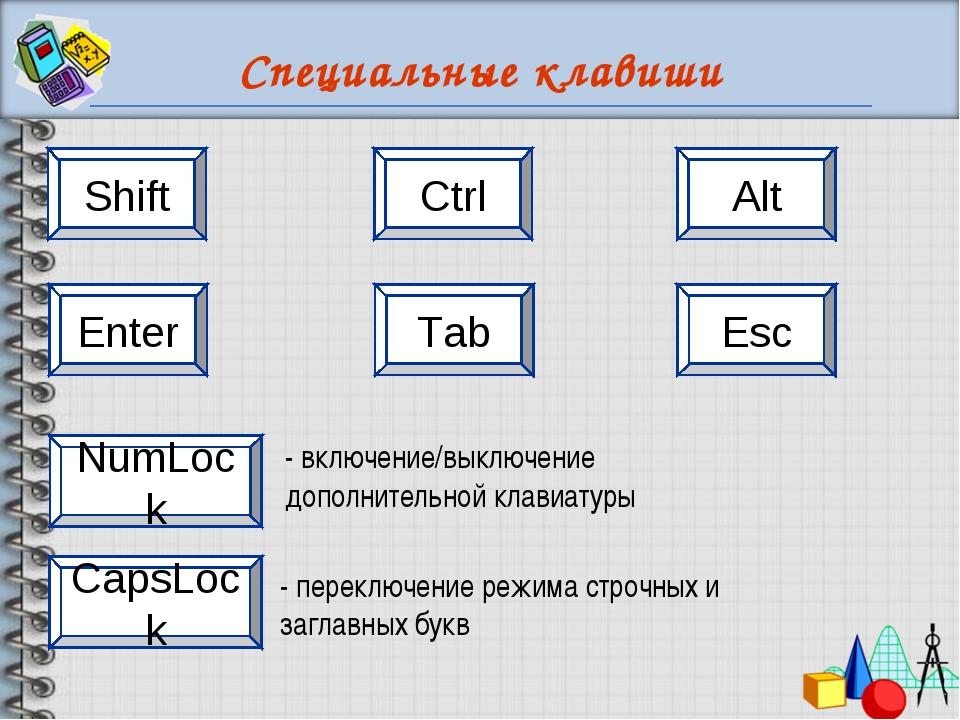 Специальные клавиши Shift Ctrl Alt Esc Enter Tab CapsLock NumLock - переключе...