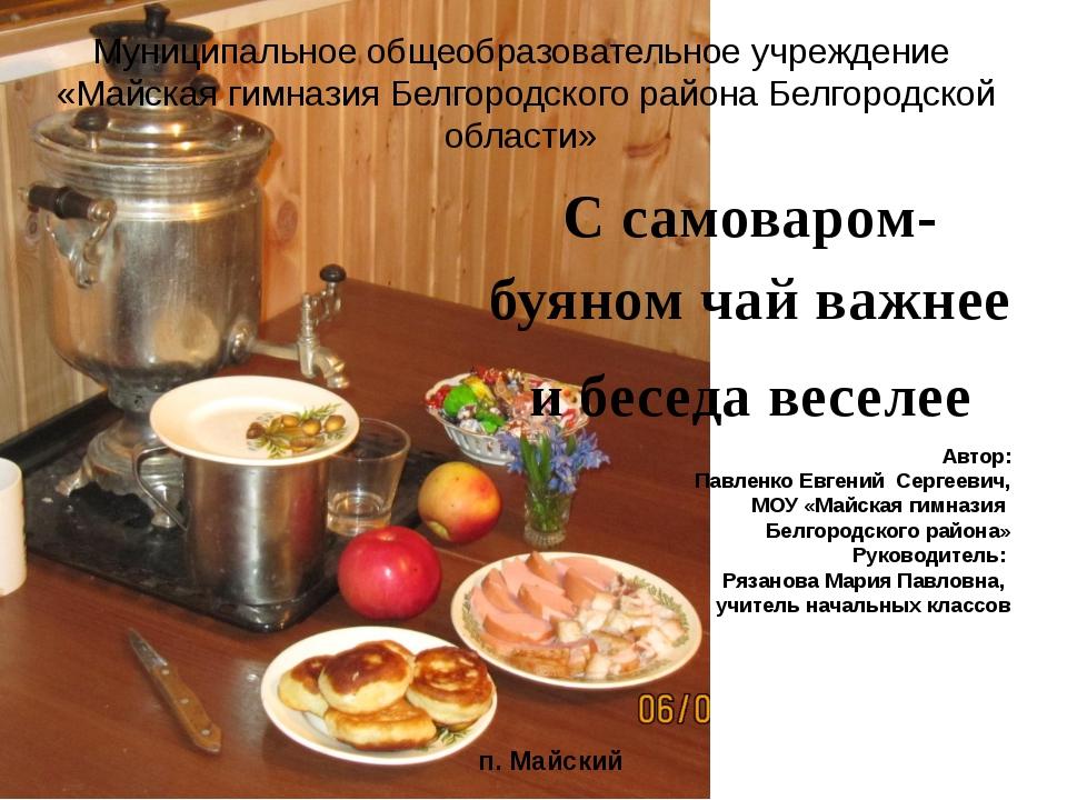 Автор: Павленко Евгений Сергеевич, МОУ «Майская гимназия Белгородского района...
