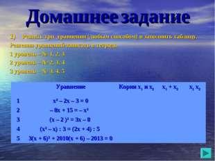 Домашнее задание Решить три уравнения (любым способом) и заполнить таблицу. Р