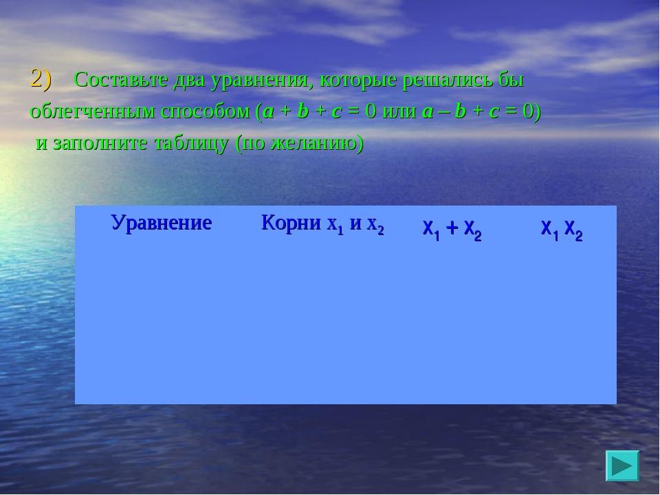 Составьте два уравнения, которые решались бы облегченным способом (a + b + c...