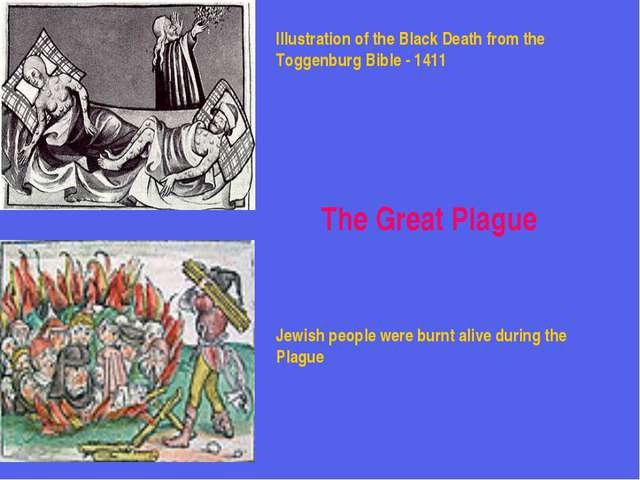 Illustration of the Black Death from the Toggenburg Bible - 1411 Jewish peopl...