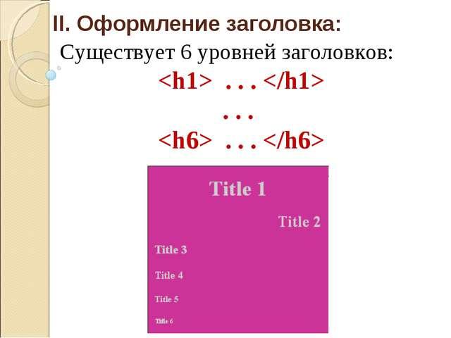 II. Оформление заголовка: Существует 6 уровней заголовков:  . . .  . . .  . ....