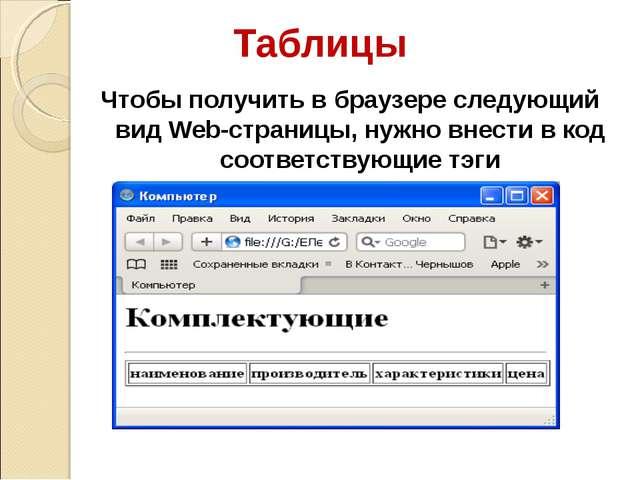 Таблицы Чтобы получить в браузере следующий вид Web-страницы, нужно внести в...