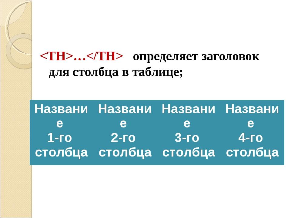 … определяет заголовок для столбца в таблице; Название 1-го столбцаНазвание...