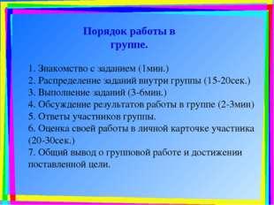 1. Знакомство с заданием (1мин.) 2. Распределение заданий внутри группы (15-2
