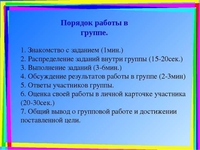 1. Знакомство с заданием (1мин.) 2. Распределение заданий внутри группы (15-2...
