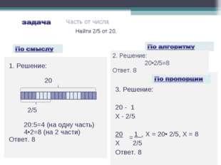 3. Решение: 20 - 1 X - 2/5 20 1 , Х = 20• 2/5, Х = 8 Х 2/5 Ответ. 8 =