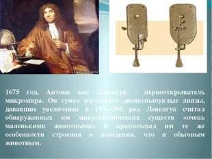 1675 год, Антони ван Левенгук - первооткрыватель микромира. Он сумел изготови