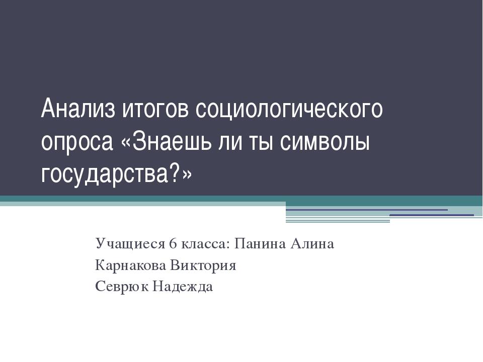 Анализ итогов социологического опроса «Знаешь ли ты символы государства?» Уча...