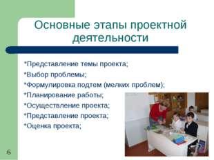 Основные этапы проектной деятельности *Представление темы проекта; *Выбор про